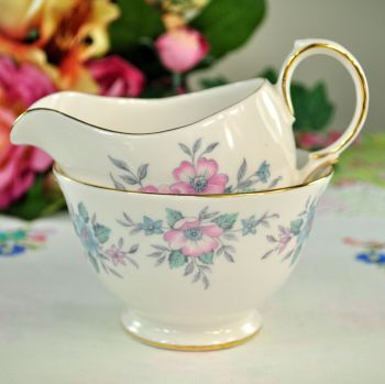 Colclough Coppelia Pastel Blue and Pink Milk Jug and Sugar Bowl
