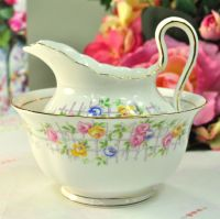 Tuscan China Rose Trellis Milk Jug and Sugar Bowl c.1947+