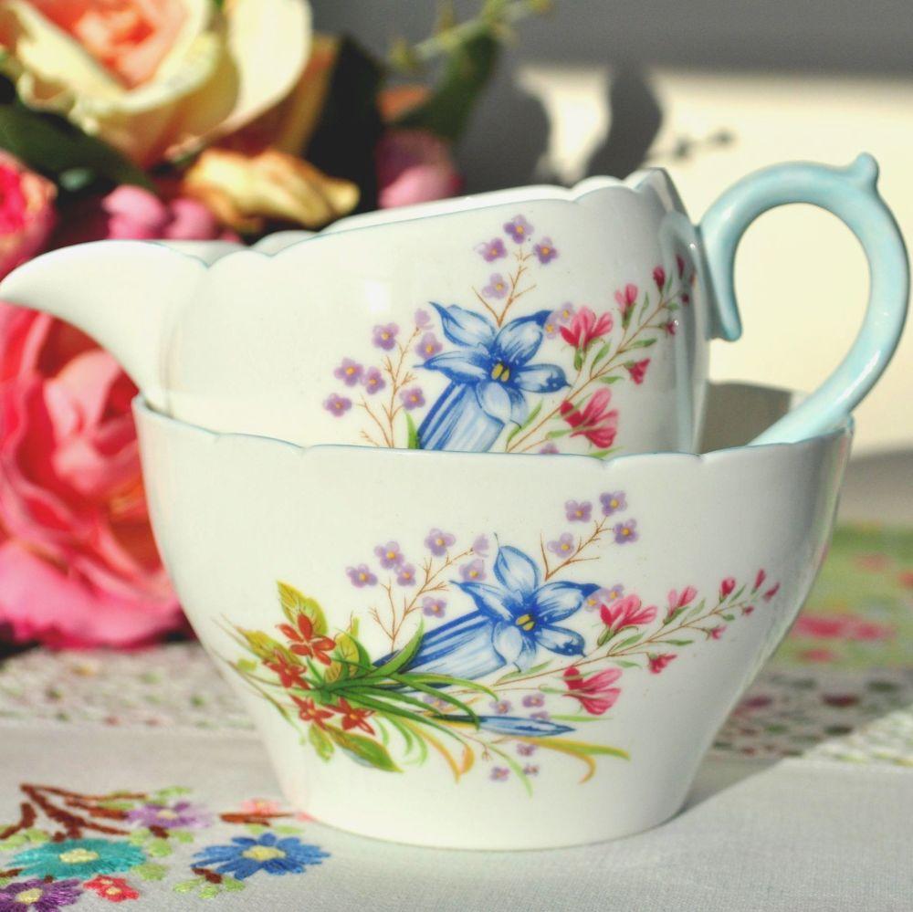 Shelley Wild Flowers 13668 Vintage China Milk Jug and Sugar Bowl