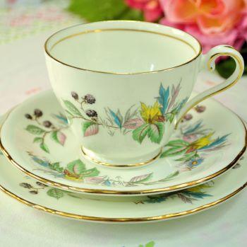 Aynsley Berry Lane Bone China Teacup, Saucer, Tea Plate Trio