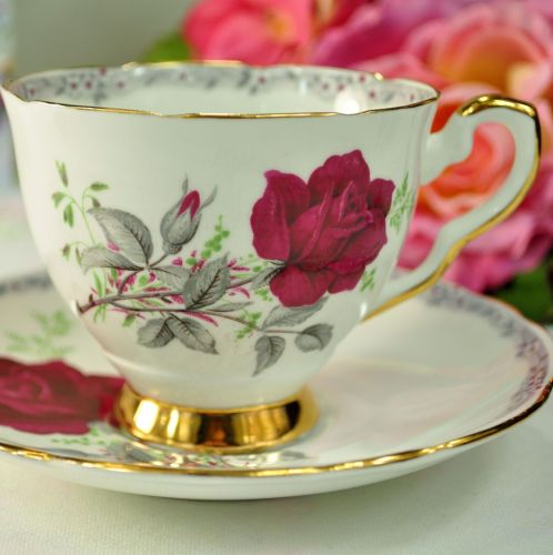 Royal Stafford Roses To Remember Pattern Teacup and Saucer c.1950s
