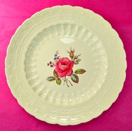 Spode's Billingsley Rose Pattern 27cm Embossed Creamware Plate