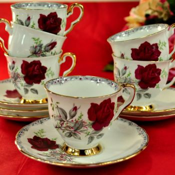 Royal Stafford Roses To Remember Set Of 6 Small Cups and Saucers