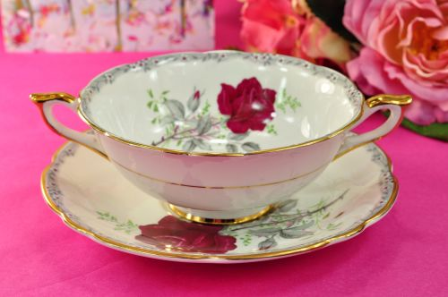 Royal Stafford Roses To Remember Soup Dish Coupe and Saucer