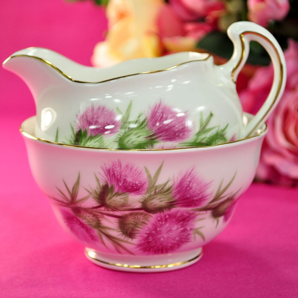 Colclough Pink Thistle Vintage Milk Jug and Sugar Bowl c.1960s
