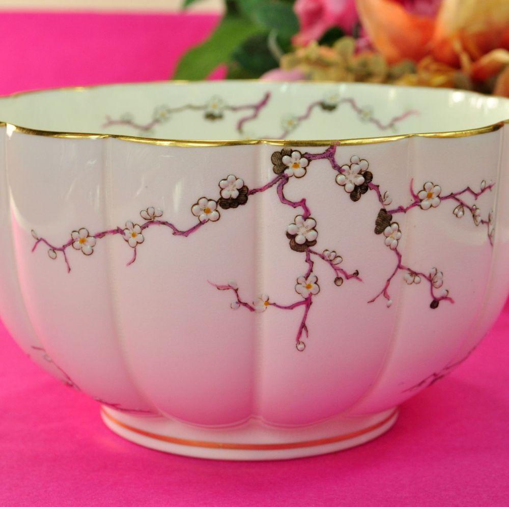 Antique Crescent China Cherry Blossom Fine China Sugar Bowl c.1874-91