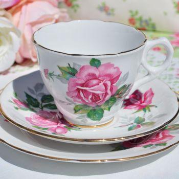 Royal Stafford Pink Rose Vintage Teacup Trio c.1950s