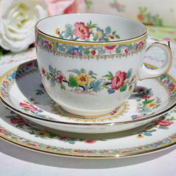 Coalport Ming Rose Vintage Teacup, Saucer, Tea Plate Trio