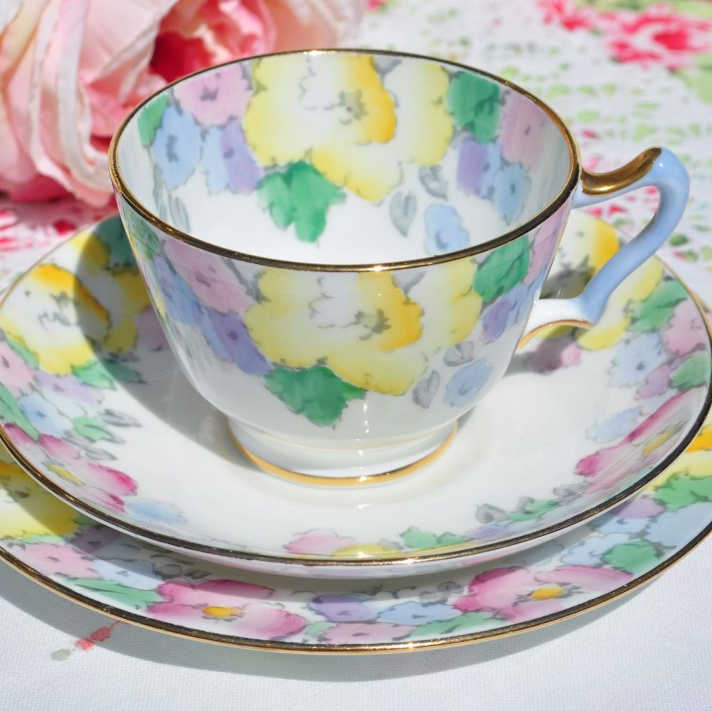 Crown Staffordshire Hand Painted Blue Handled Vintage Teacup Trio