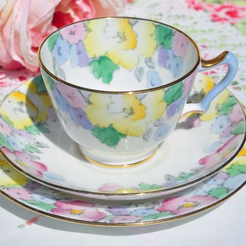 Crown Staffordshire Hand Painted Blue Handled Vintage Teacup Trio