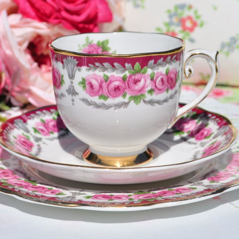 Roslyn Buckingham Vintage China Teacup Trio c.1958-63