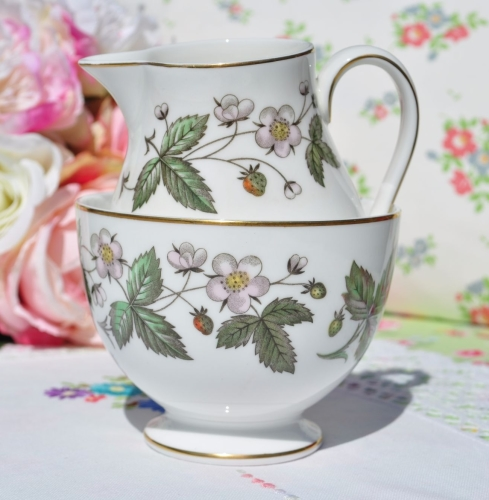 Wedgwood Strawberry Hill Creamer and Sugar Bowl c.1960s