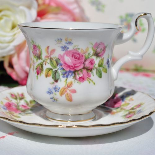 Royal Albert Moss Rose Vintage Demitasse Teacup and Saucer c.1962