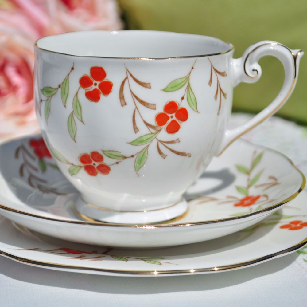 Queen Anne Hand Painted Orange Floral Teacup Trio c.1950s