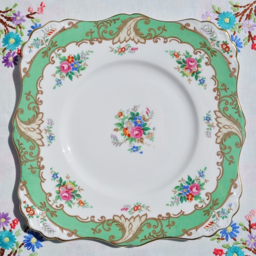 Tuscan Floral Green Border Cake Plate