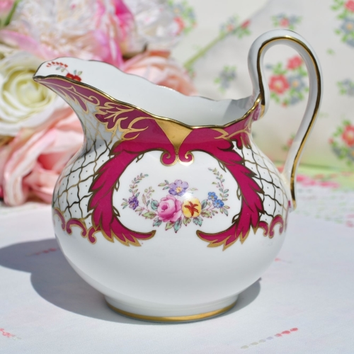 New Chelsea One Pint Cerise Floral Cream Jug c.1936+