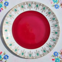 Windsor Retro Red,Gold and Green Cake Plate c.1946+