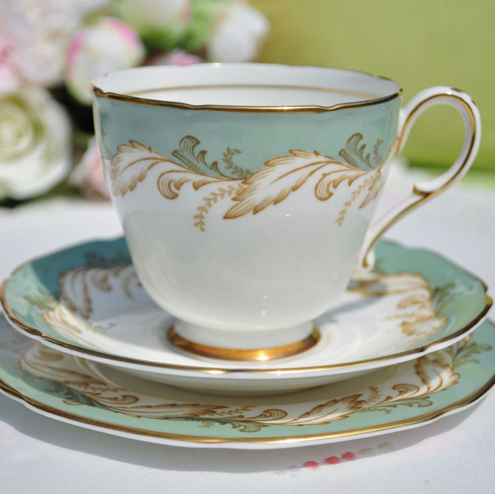 Paragon Duck Egg Green and Gold Vintage China Teacup Trio c.1957+