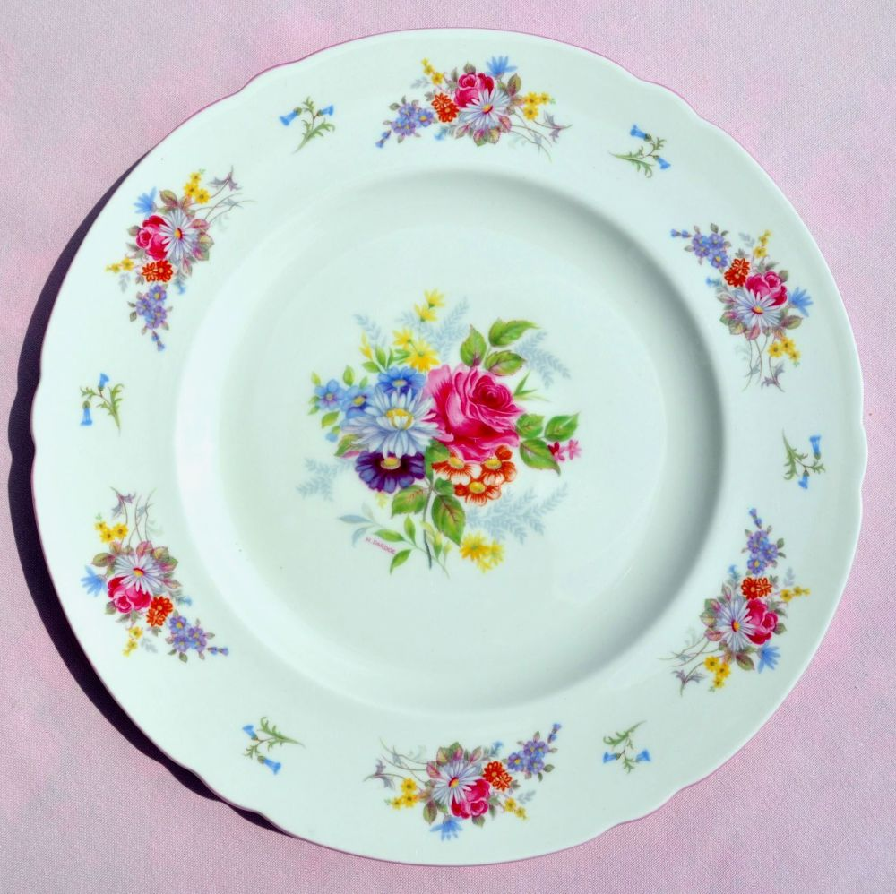 Shelley Pink Rim Floral Bone China Dinner Plate c.1930s