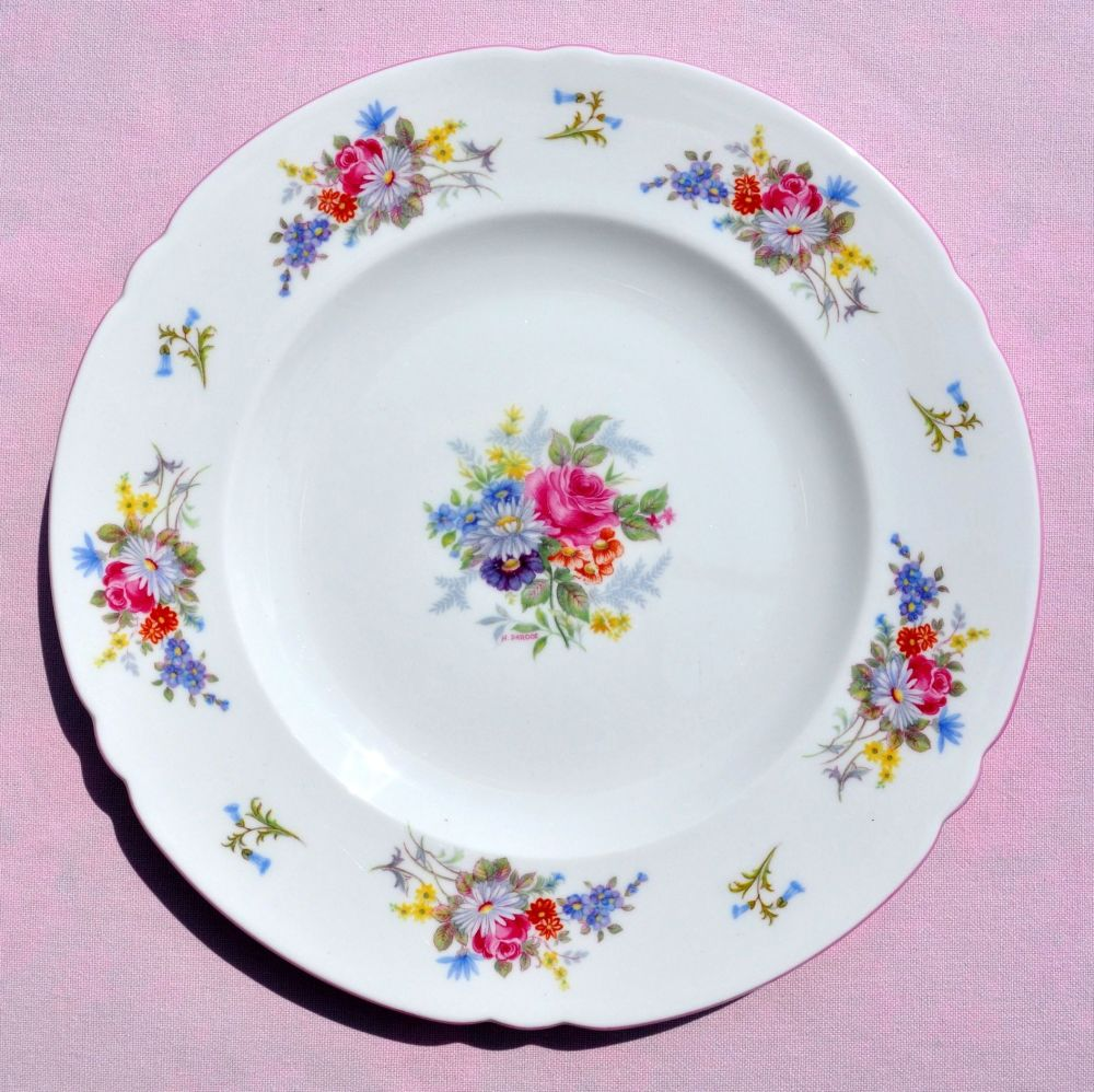 Shelley Pink Rim Floral Bone China Luncheon Plate c.1930s