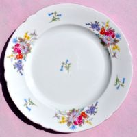 Shelley Pink Rim Floral Bone China Tea Plate c.1930s