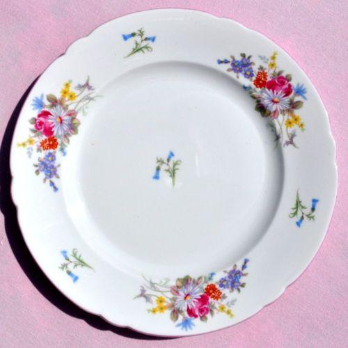 Shelley Pink Rim Floral Bone China Tea Plate c.1930s