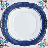 Salisbury Blue and Gold Border Cake Plate c.1930s