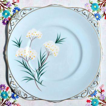 Royal Grafton Pale Blue Floral Cake Plate. c.1950s