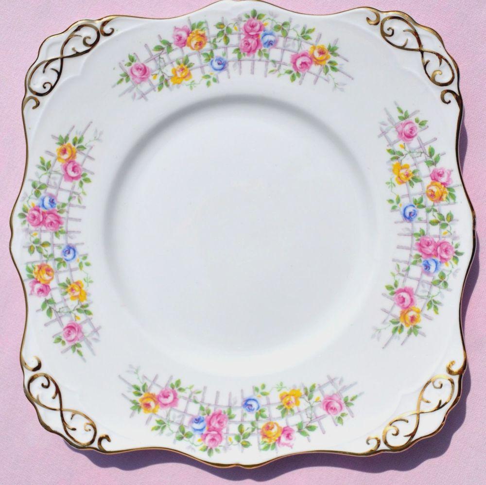 Tuscan China Rose Trellis Cake Serving Plate c.1947+