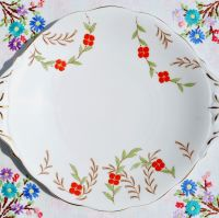 Queen Anne Hand Painted Cake Plate c.1950s