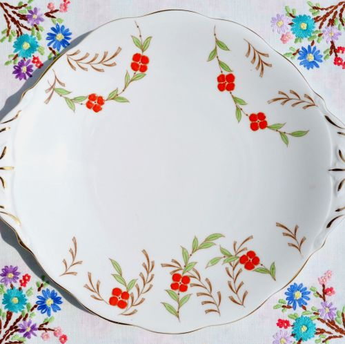Queen Anne Hand Painted Orange Floral Cake Plate