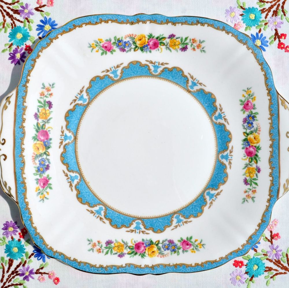 Crown Staffordshire Tunis Blue Cake Serving Plate c.1930s