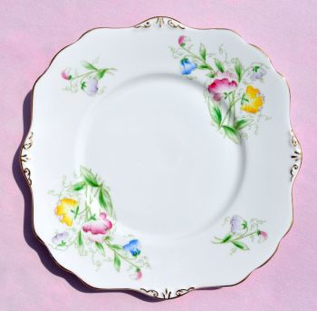 Royal Stafford Sweet Pea Hand Painted Cake Plate c.1950s