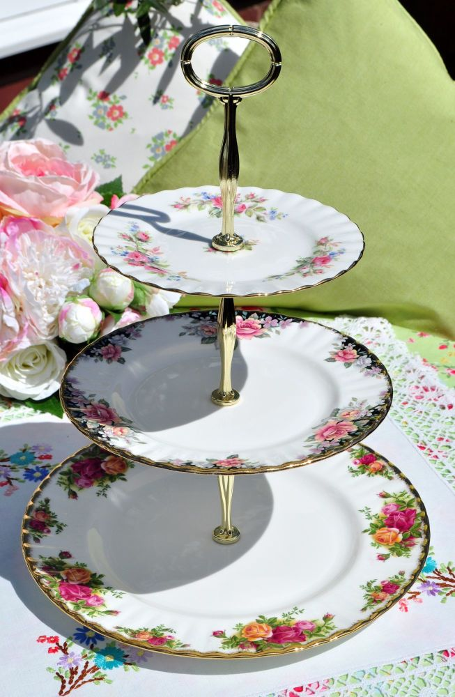 Royal Albert Rose Medley Traditional 3 Tiered Cake Stand