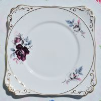 Gladstone Burgundy Rose Cake Plate c.1970s