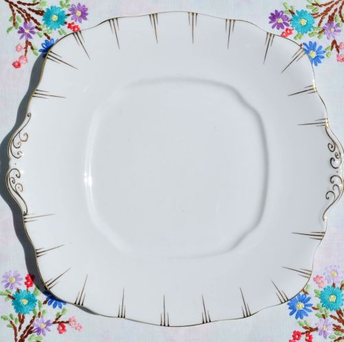 Antique Royal Albert Crown China White and Gold Cake Plate c.1917