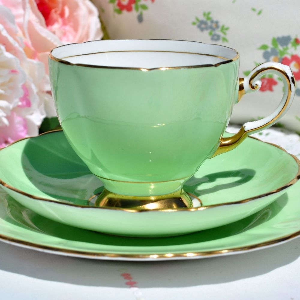 Tuscan Pale Green and Gold Vintage Teacup Trio c.1936+