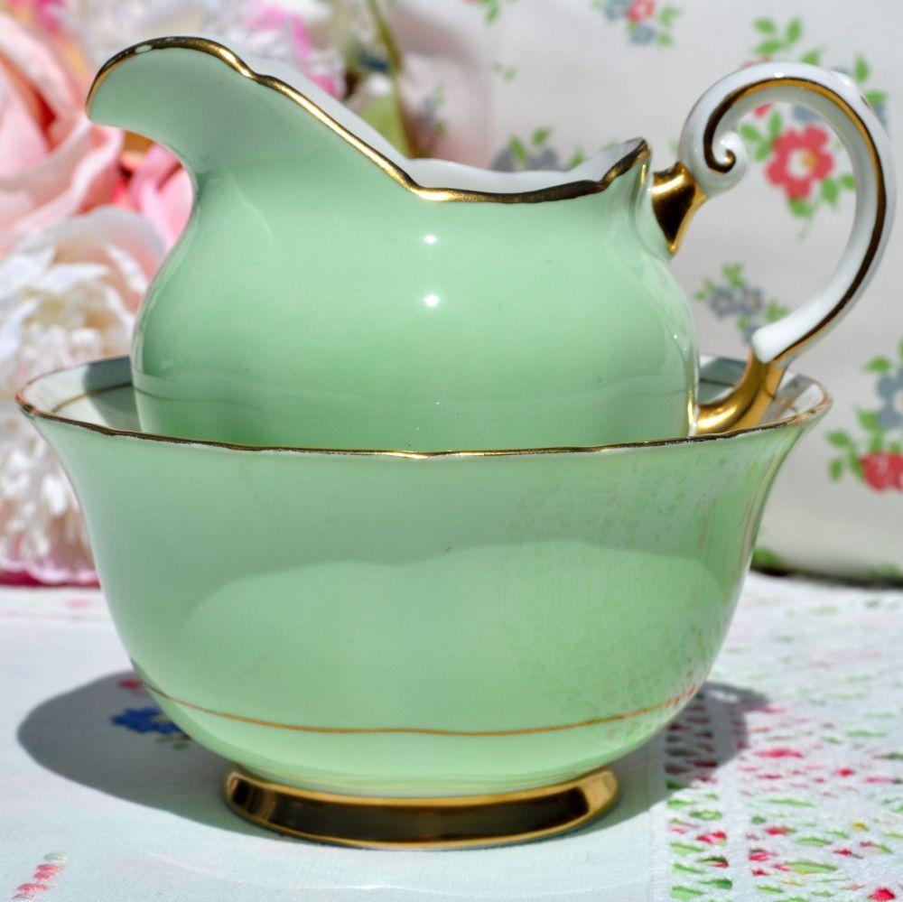 Tuscan Pale Green and Gold Milk Jug and Sugar Bowl c.1936+