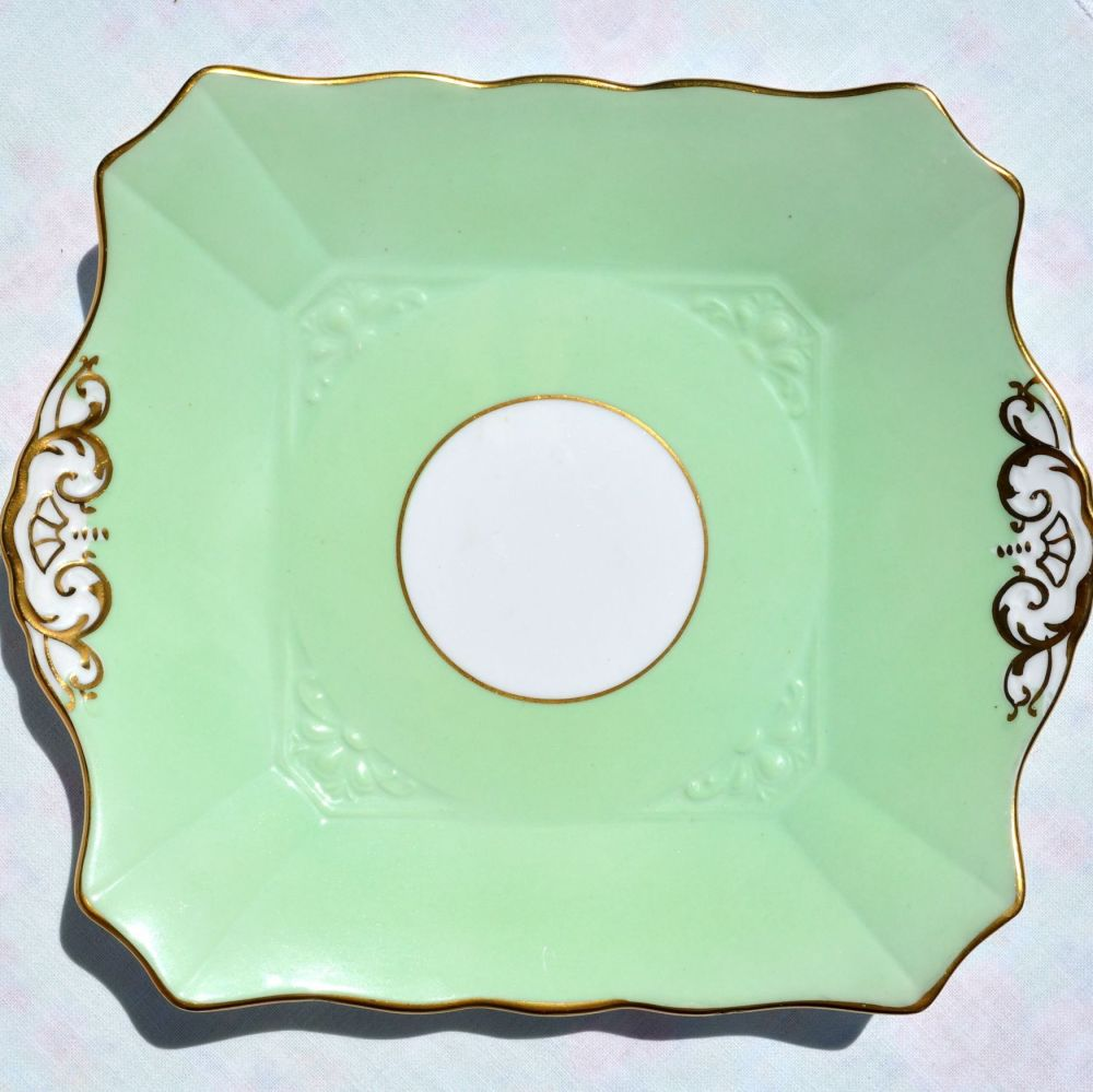 Tuscan Pale Green and Gold Vintage Cake Platel c.1936+