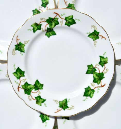 Six Colclough Green Ivy Leaf Vintage China Tea Plates