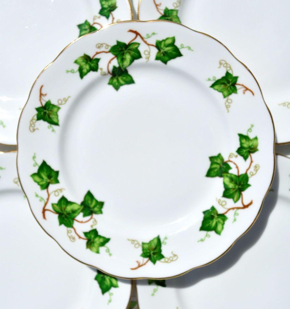 Six Colclough Green Ivy Leaf Vintage China Tea Plates