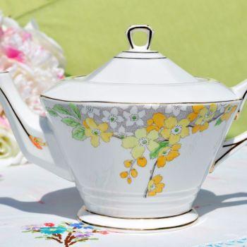 Tuscan Art Deco Lemon Floral Bone China Teapot c.1936