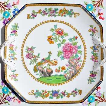 Antique Spode Peacock Pattern Hand Painted Serving Plate c.1905