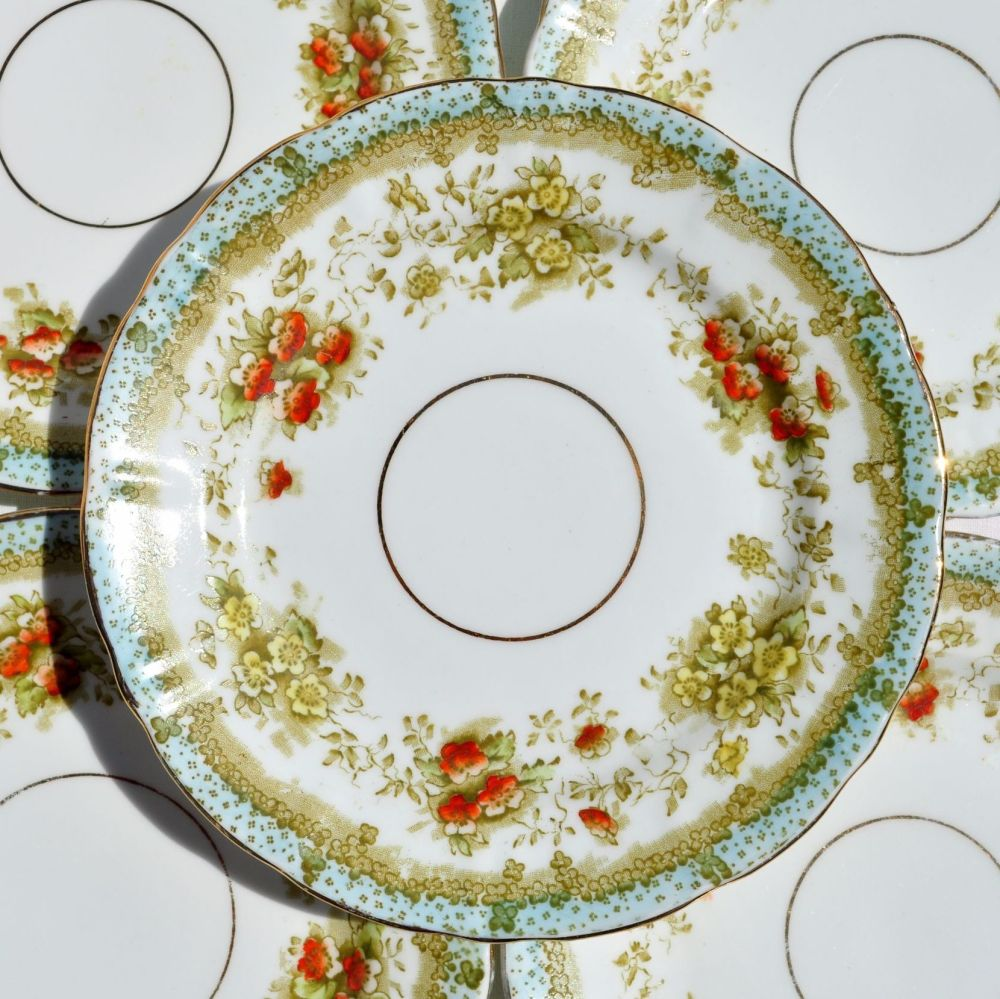 Crown China Antique Mona Pattern 18cm Plates Set c.1905
