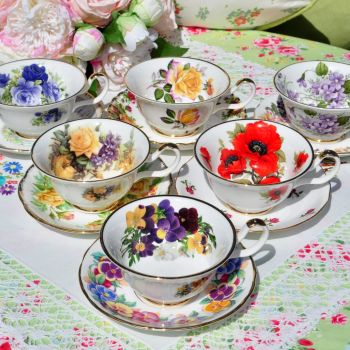 Mismatched Sheltonian Vibrant Floral China Teacups and Saucers