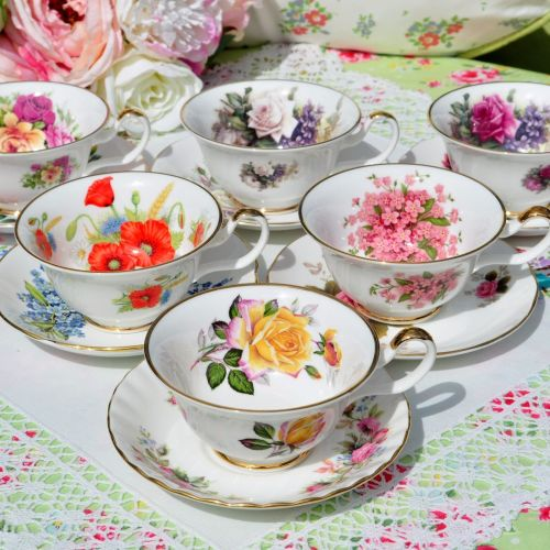 Eclectic Sheltonian Floral China Teacups and Saucers
