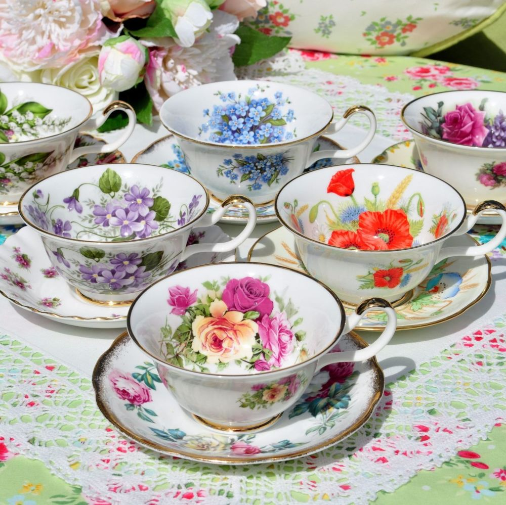 Sheltonian Eclectic English Floral China Teacups and Saucers