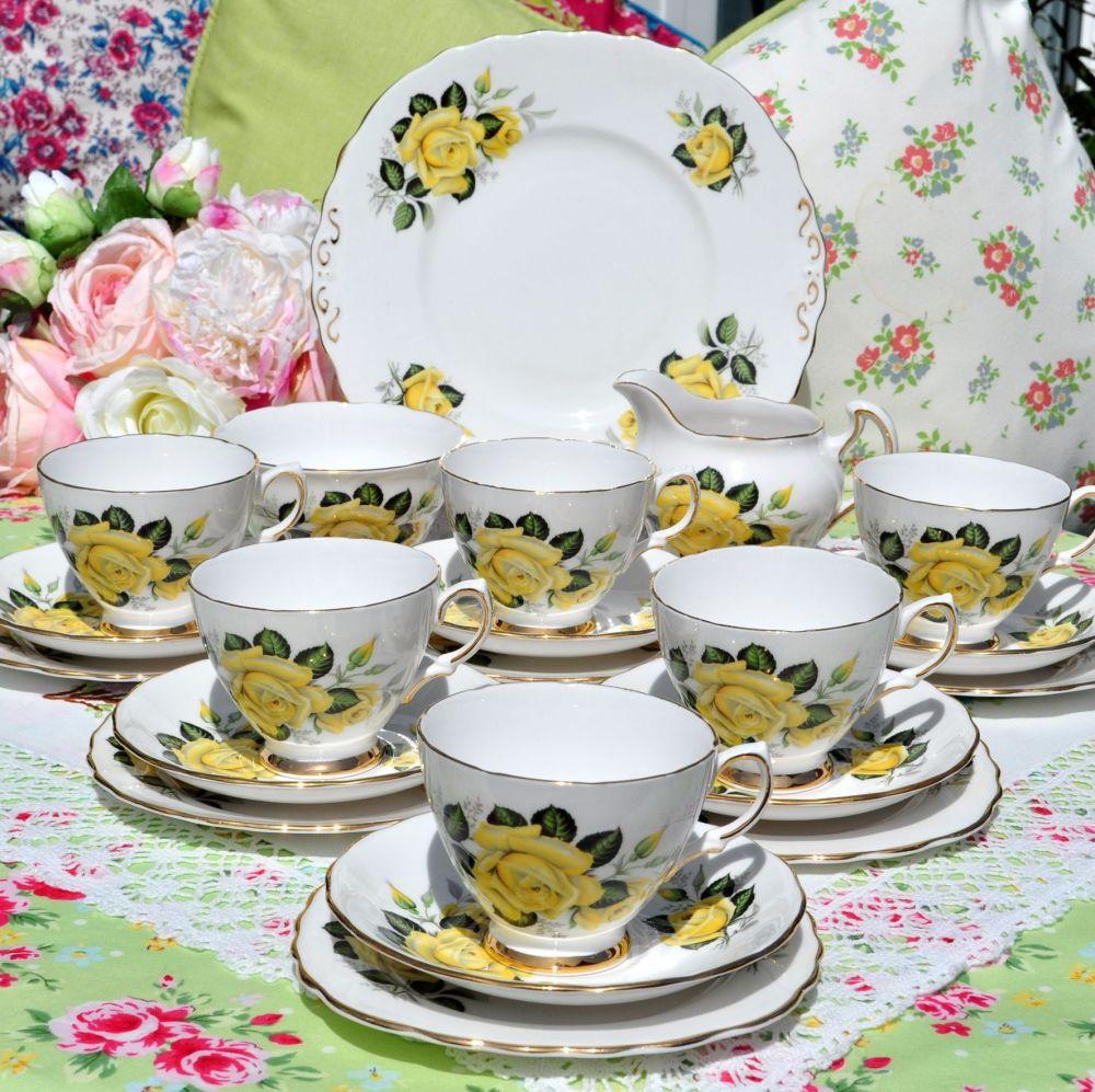Colclough Yellow Roses Vintage 21 Piece Tea Set c.1950s