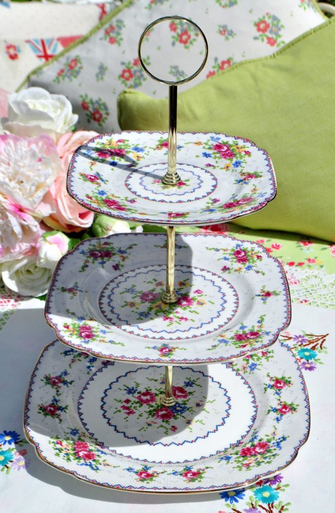 Royal Albert Petit Point China 3 Tier Cake Stand c.1930s