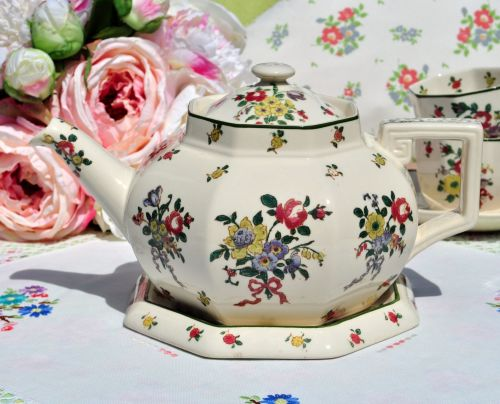 Royal Doulton Old Leeds Sprays Teapot and Stand